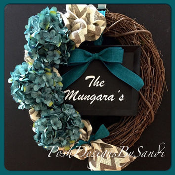 Grapevine Wreath- Burlap Wreath-Hydrangea Wreath- Front Door Wreath- Mothers Day Wreath-Year Round Wreath-Spring/Summer Wreath- Last Name