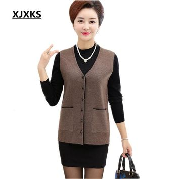 2017 spring and autumn new women's solid color button sleeveless cardigan pocket big yards cashmere Jackets vest free shipping