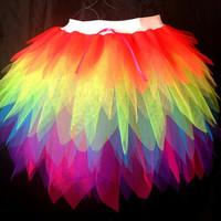 Neon Rainbow Brite Tutu - Long Length Multi Colour Tutu