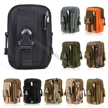 Universal Outdoor Tactical Holster Military Molle Hip Waist Belt Bag Wallet Pouch Purse Zipper Phone Case For Iphone X 8 Plus 7