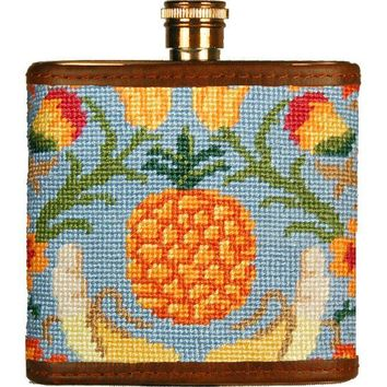 Tropical Fruit Needlepoint Flask by Smathers & Branson