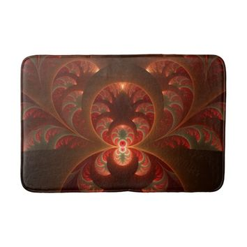 Luminous abstract modern orange red Fractal Bath Mat