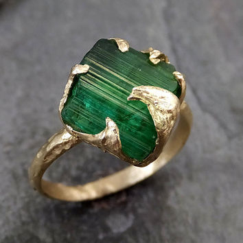 Raw Green Tourmaline Gold Ring Rough Uncut Gemstone tourmaline recycled 14k stacking cocktail statement