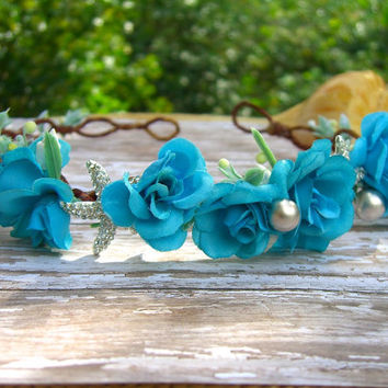 Malibu Blue Beach Wedding Head Wreath, Destination Weddings, Mermaid Head Crown, Summer Beach Wedding, Music Festivals, Coachella, Bohemian