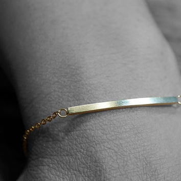 Gold or Silver plated brushed stainless steel curve bar adjustable  chain bracelet (BR00016)