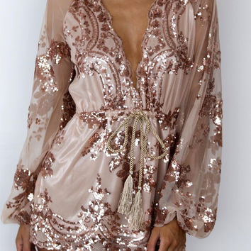 Tamaran Gold Sequined Romper