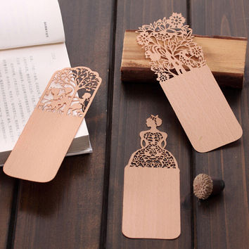 Exquisite Hollow Out Pattern Wooden Bookmark Book Label Promotional Gift Stationery