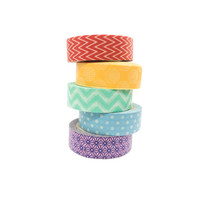 Washi Tape Rainbow set/ Set of 5 / Scrapbooking tape / Paper tape / Gift wrapping / Packaging / Colourful Tape in a set