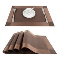 Top Finel 4pcs/lot PVC Decorative Vinyl Placemats for Dining Table Runner Linen Place Mat in Kitchen Accessories Cup Coaster Pad