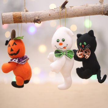 Lovely Halloween Decorations Plush Dolls Ghosts Pumpkin Black Cat Hanging Ornament Children's Gift Toy Halloween Party Decor
