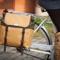 Olive Green - Deep Amber Roll Top Pannier Bag , Leaf Pannier bag, Bicycle Bag, Messenger bag, Bike accessory