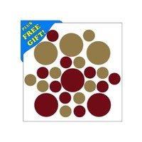 Set of 50 - Metallic Gold / Burgundy Circles Polka Dots Vinyl Wall Decals Stickers [Peel and Stick Graphic Mural Decal Circle Dot Kit Appliques]
