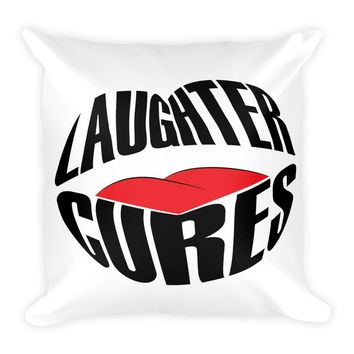 Square Pillow With Awesome Laughter Cures Design 18x18
