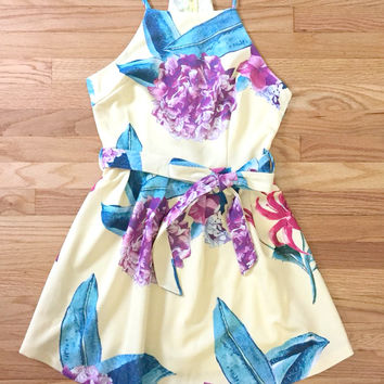 Yellow Floral Fit and Flair Dress