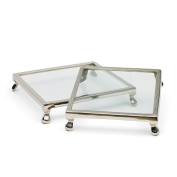 Go Home Set of Two Square Cake Stands - 9275AB