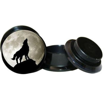 Wolf Logo ear Plug Black Acrylic Screw Fit