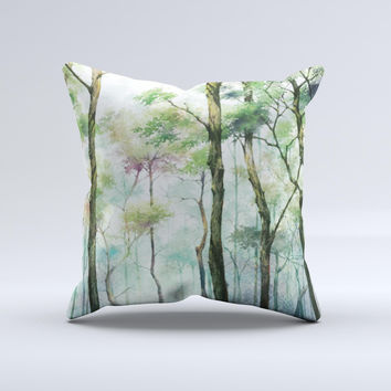 Watercolor Glowing Sky Forrest Ink-Fuzed Decorative Throw Pillow