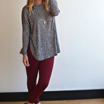 Perfect Heathered Long-Sleeved Tunic