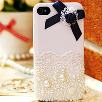 iphone 4 case, lace iphone 4s case iphone 5 cover skin iphone 5 case - bowknot pearl iphone 4s case