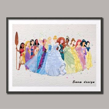 DIY Original watercolor Princess poster prints pictures wall art canvas painting kid's room Decoration Nursery wall hanging gift