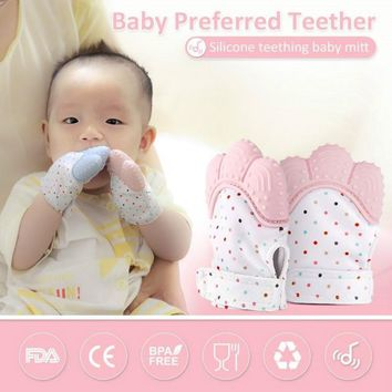 1PC Silicone Teether Baby Pacifier Glove Teething Chewable Newborn Nursing Teether Beads Infant BPA Free Pastel 5 Colors