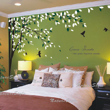 Branch With Flying Birds  Vinyl Wall Decal,Sticker,Nature For Nursery Room  Tree Part 97