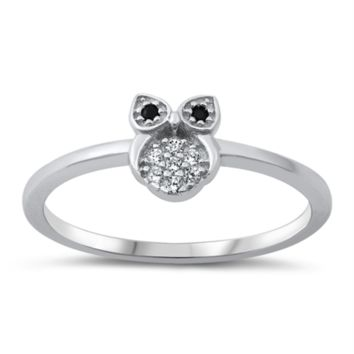 Tiny Owl Ladies Ring Size 5-10 Black and White in Sterling Silver and CZ