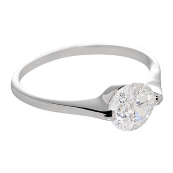 Sterling Silver 1.25ct Engagement Ring Cubic Zirconia Round 7mm Clear CZ Rhodium