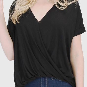 Jasmine Surplice Top in Black - Regular or Curve Fit