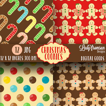Christmas Cookies Paper Pack, Gingerbread christmas, background, holiday, X-mas, Cute Digital Paper scrapbook paper, Commercial Use