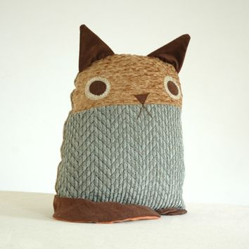 Supermarket: Cat Pillow --- Turquoise Blue Chevron body, Mustard Nubby Yellow face from birdenvy