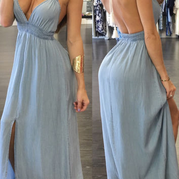 Blue Backless Maxi Dress