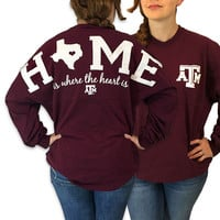Texas A&M Aggies Women's Home Spirit Jersey Long Sleeve Oversized Top Shirt