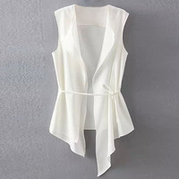 White Drawstring Waist Layered Vest