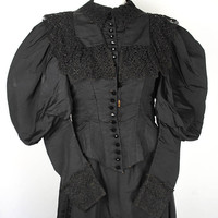 Victorian Silk Dress - mid 1890s Leg O' Mutton Sleeve Victorian Mourning Evening Gown