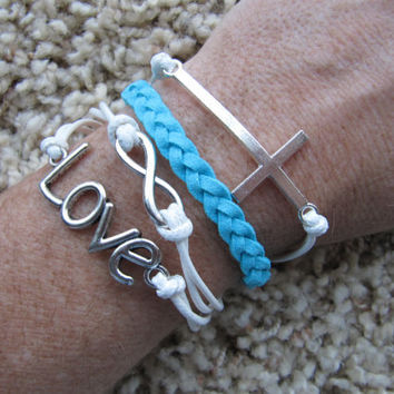 Made in the USA - Turquoise and White Cross Love Infinity White Friendship Charm Bracelet