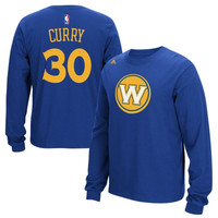 Stephen Curry Golden State Warriors adidas Name & Number Long Sleeve T-Shirt – Royal Blue