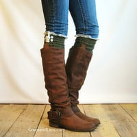 The Milly Lace - Army Green cable-knit Boot Socks with ivory knit lace trim & buttons - lace socks (item no. 5-24)