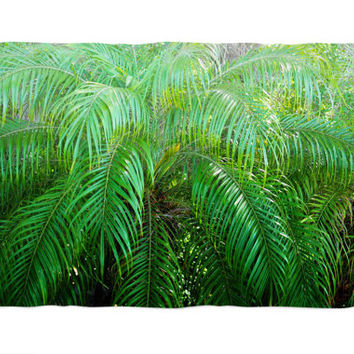 Jungle Palms 3 - Fleece Blanket, Green Palm Fronds Interior Throw Accent Cover, Beach Surf Style Coral Fleece. In 30x40 50x60 60x80 Inches