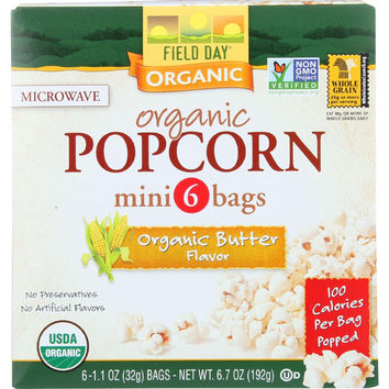 Field Day Microwave Popcorn - Organic - Butter Flavor - 100 Calorie - Mini Pack - 6-1.1 Oz - Case Of 6