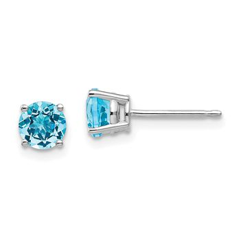 14k White Gold 5mm Genuine Blue Topaz Round Stud Earrings