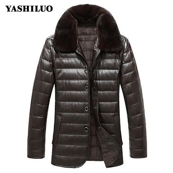 Winter Mens Warm Sheepskin 100% Real Leather Jacket Turn Dowm Collar Biker Coat For Male Jaqueta De Couro Masculino Motoqueiro
