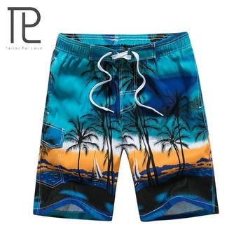 2018 Hawaiian Summer Men's Shorts M-6XL Mens Beach Shorts Palm Tree Print Cool Male Daily Shorts Homme Brand Clothing Blue Green