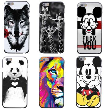 Cool Animal Lion Wolf Mickey Mouse Hard Pattern Phone Case for iphone 7 7Plus 5 5S 6 6S Plus 8 8 Plus X 10 5.8 Coque Capa Cover