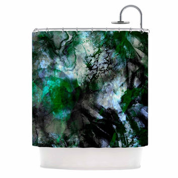 "Shirlei Patricia Muniz ""Camouflage"" Black Green Shower Curtain"