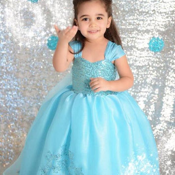 New Frozen Christmas Princess Elsa anna Short Sleeve Children Baby Girl Party Birthday Lace Tutu Dresses Cloak.