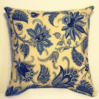 "Pillow Covers 18"" Set of Two- Blue Floral Pattern"