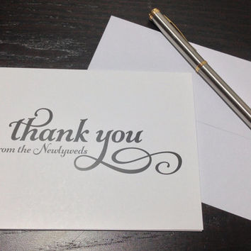 Personalized Thank You Notes - WEDDING THANK YOU - Set of 100 Folded Personalized Stationery / Stationary note cards