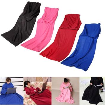 Home Winter Warm Fleece Snuggie Blanket Robe Cloak With Sleeves Free Shipping