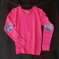 Sequin Heart Elbow Patch Sweatshirt - Bright Pink Jumper with Silver Sequin Elbow Patches